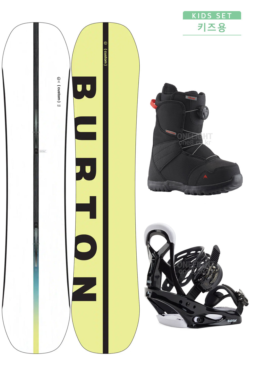 S029-버튼+버튼+버튼  스노우보드 세트-데크 : BURTON BOYS CUSTOM SMALLS 바인딩 : BURTON BOYS SMALLS BLK 부츠 : BURTON BOYS ZIPLINE BOA BLACK_ATB200200+AUB2002BK+AVB2001BK/키즈